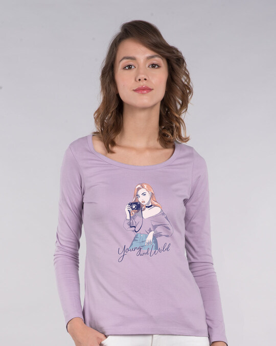 Shop Young And Wild Scoop Neck Full Sleeve T-Shirt-Front