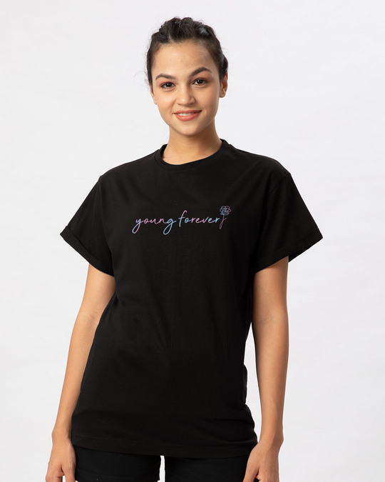 Shop Young Forever Army Boyfriend T-Shirt-Back