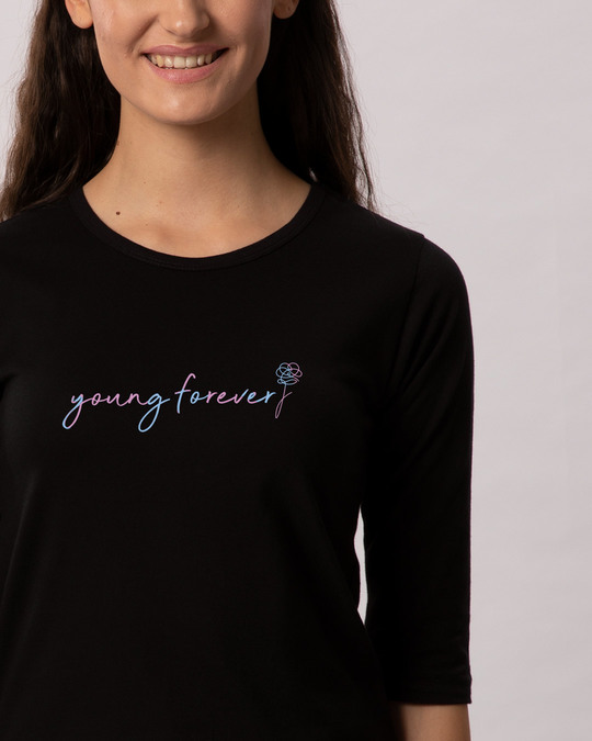 Shop Young Forever Army Round Neck 3/4th Sleeve T-Shirt-Front