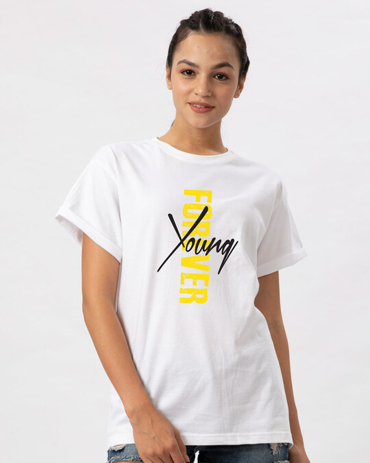 Shop Young Forever Side Boyfriend T-Shirt-White-Front