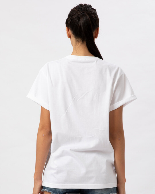Shop Young Forever Side Boyfriend T-Shirt-White-Back