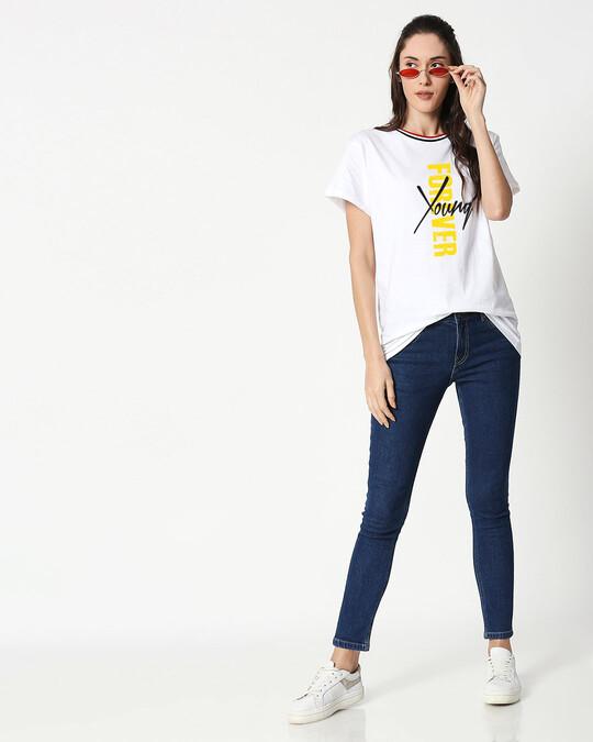 Shop Young Forever Side Boyfriend Varsity Rib Side T-Shirt- Multicolor-Design