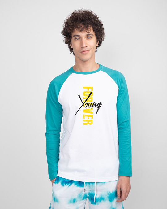 Shop Young forever Side Full Sleeve Raglan T-Shirt-Front