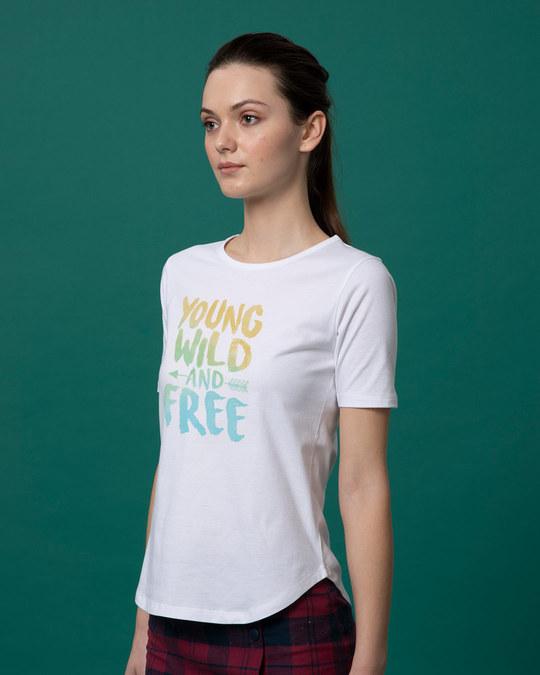 Shop Young Wild Free Colorful Basic Round Hem T-Shirt-Back