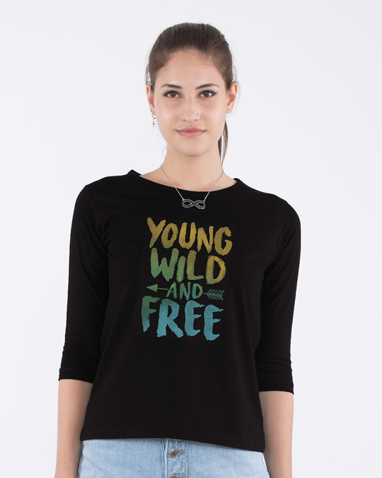 Shop Young Wild Free Colorful Round Neck 3/4th Sleeve T-Shirt-Front