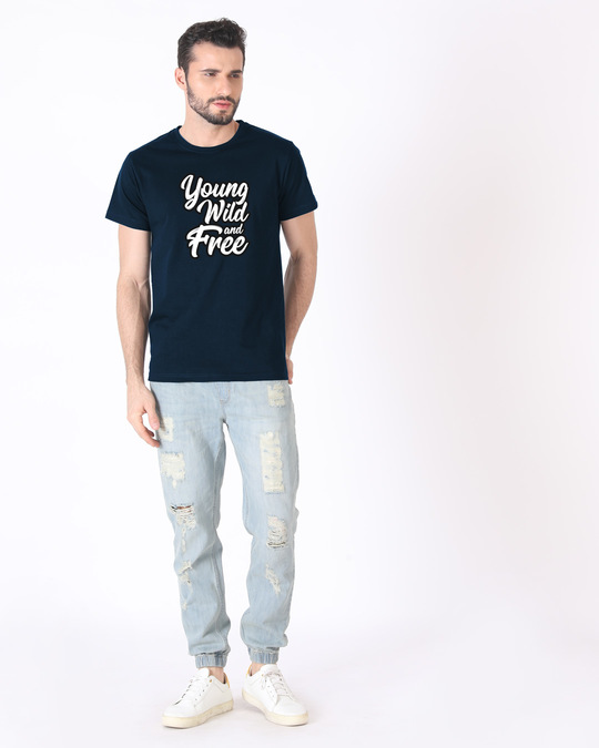 Shop Young Wild Typography Half Sleeve T-Shirt