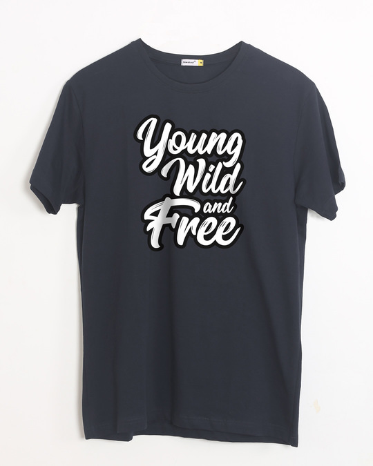Shop Young Wild Typography Half Sleeve T-Shirt-Front