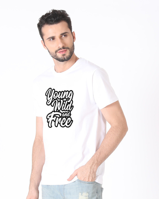 Shop Young Wild Typography Half Sleeve T-Shirt-Design