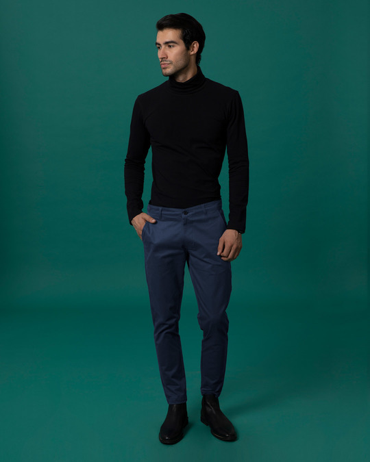 Shop Zaffre Blue Slim Fit Cotton Chino Pants