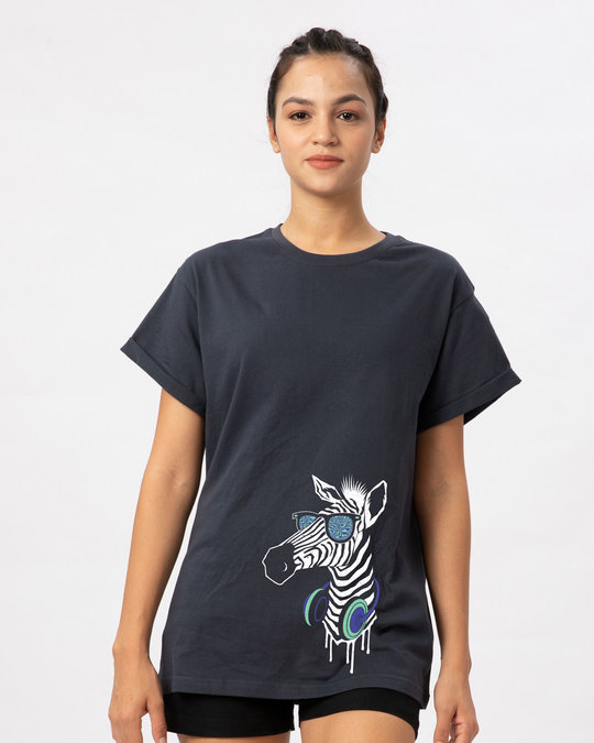 Shop Zebra Headphones Boyfriend T-Shirt-Front