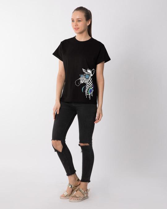 Shop Zebra Headphones Boyfriend T-Shirt