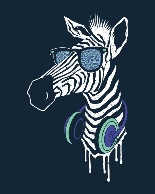Shop Zebra Headphones Full Sleeve T-Shirt