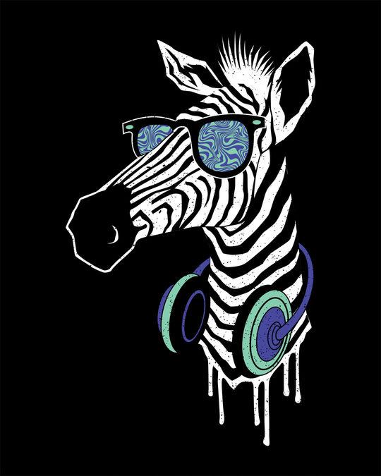 Shop Zebra Headphones Half Sleeve T-Shirt