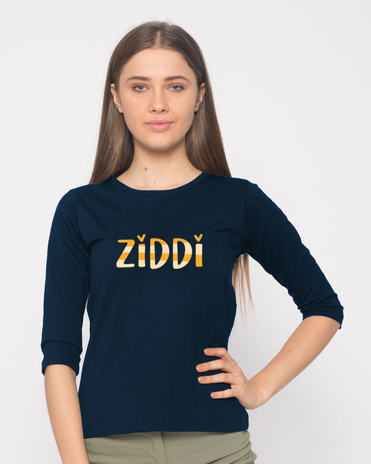 Shop Ziddi Round Neck 3/4th Sleeve T-Shirt-Front