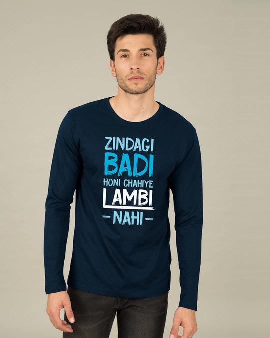 Shop Zindagi Badi Honi Chahiye Full Sleeve T-Shirt-Front