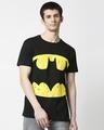 Shop Batman Logo Yellow Half Sleeves Hperprint T-Shirt (BML) Black-Front