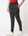 Shop Women Reindeer All Over Printed Black Jogger-Design