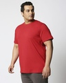 Shop Bold Red Half Sleeve Plus Size T-Shirt-Back
