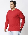 Shop Bold Red Plus Size Full Sleeve T-Shirt-Back