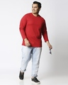 Shop Bold Red Plus Size Full Sleeve T-Shirt-Full