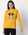 Shop Camera Mickey Fleece Sweater (DL) Mustard Yellow-Front