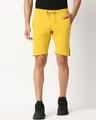 Shop Ceylon Yellow Men's Solid Side Tape Pocket Shorts-Back