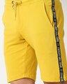 Shop Ceylon Yellow Men's Solid Side Tape Pocket Shorts