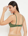 Shop Non Padded Non Wired Full Cup Camouflage Print Bra In Olive Green   Cotton-Design