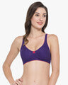 Shop Non Padded Non Wired T Shirt Bra With Lace In Purple   Cotton Rich-Front