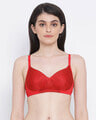 Shop Padded Non Wired Full Cup Multiway T Shirt Bra In Red-Front