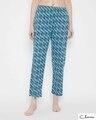 Shop Peacock Print Pyjama In Blue-Front