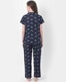 Shop Print Me Pretty Button Me Up Shirt & Pyjama In Navy  Crepe-Design