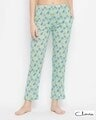 Shop Print Me Pretty Pyjama In Mint Green   Cotton Rich-Front