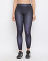 Shop Snug Fit Active Ankle Length Printed Tights In Black-Front