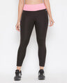 Shop Snug Fit Active Ankle Length Tights In Black-Front