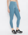 Shop Snug Fit Active High Rise Ankle Length Tights In Light Blue-Back