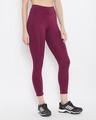 Shop Snug Fit Active High Waist Ankle Length Tights In Burgundy-Back