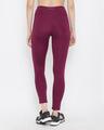 Shop Snug Fit Active High Waist Ankle Length Tights In Burgundy-Design