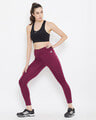 Shop Snug Fit Active High Waist Ankle Length Tights In Burgundy-Full