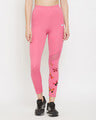 Shop Snug Fit High Rise Active Ankle Length Butterfly Print Tights In Baby Pink-Front