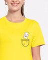 Shop Cute Heart Pocket Half Sleeve Printed T-shirt-Front