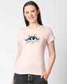 Shop Cute Peeking Cat Women's Printed Pink T-shirt-Back