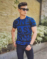 Shop Dark Blue Easy One Text Print Half Sleeves T Shirt-Front
