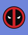 Shop Deadpool Face Printed Badge Half Sleeve T-Shirt ( DPL )-Full