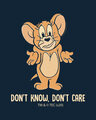Shop Don't Care Jerry Printed Round Neck 3/4th Sleeve T-Shirt (TJL) Navy Blue-Full
