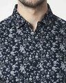 Shop Men's Navy Slim Fit Casual Print Shirt