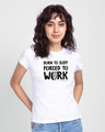 Shop Forced To Work Half Sleeve Printed T-Shirt White (TJL)-Front
