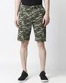 Shop Green Camo Casual Shorts-Front