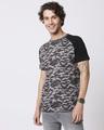 Shop Grey Camo Sleeve Raglan Camo T-Shirt-Back