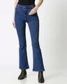 Shop Womens Blue Washed Boot Cut Fit High Waist Jeans-Back